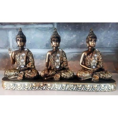 Ensemble de 3 bouddha sur base or