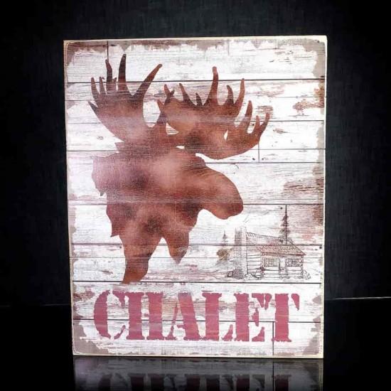 Cadre mural en bois Chalet avec Orignal