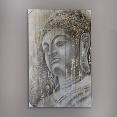 Toile bouddha sur bois grange peinture relief