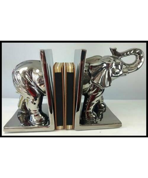 Appui-livres éléphant en céramique silver