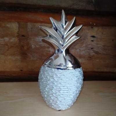 Ananas en céramique gris fini stainless