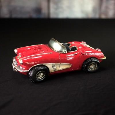 Auto convertible rouge vintage déco ( corvette 1958 )