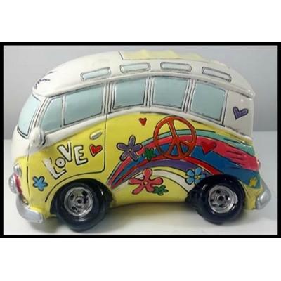 Autobus peace and love décoratif jaune