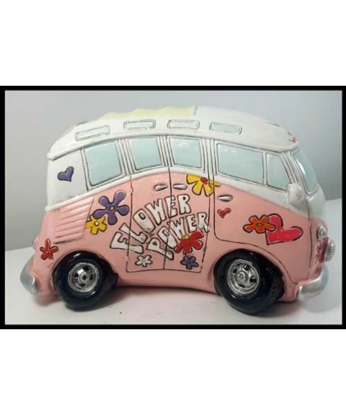 Autobus peace and love décoratif rose