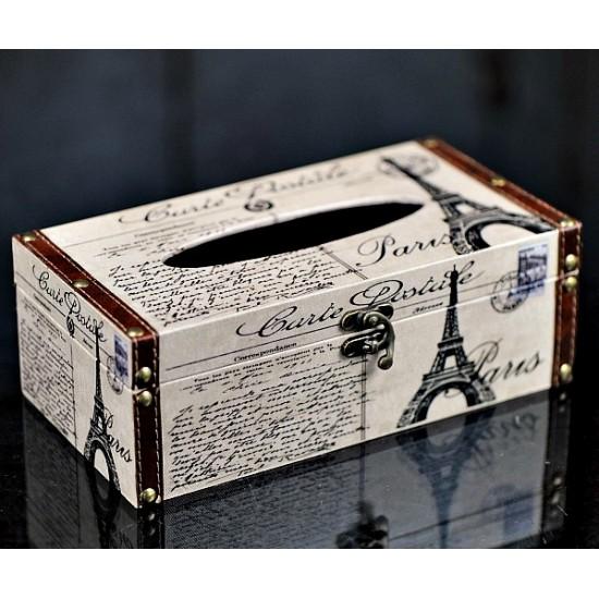 Boîte à Mouchoirs Paris tour Eiffel en bois avec finition en cuir