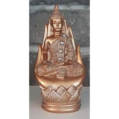 Bouddha deux mains jointes or et gris
