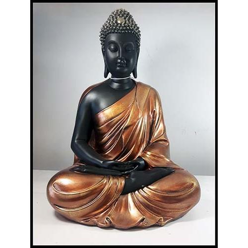 Bouddha méditation en résine or et noir