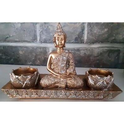 Bouddha or avec 2 bougies