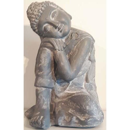 Bouddha repos céramique gris