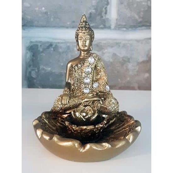 Bouddha thaïlandais bruleur encens bâtonnet fleur lotus or