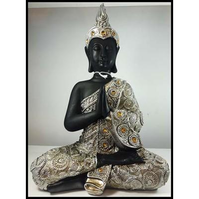 Bouddha thai en résine argent et pierres jaunes