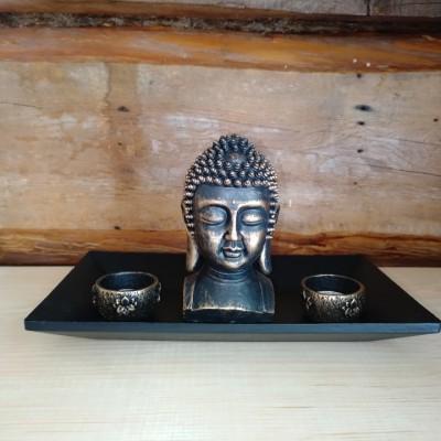 Bouddha avec 2 bougeoirs sur plateau