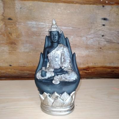 Bouddha deux mains jointes noir et gris