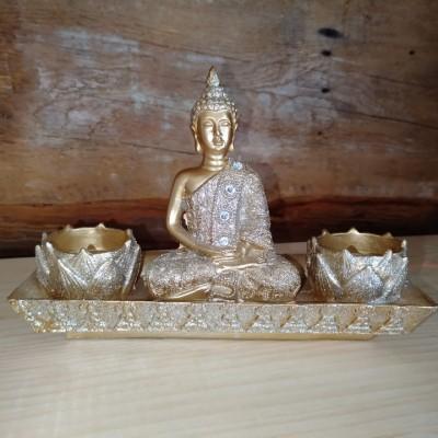 Bouddha or brillant avec 2 bougies