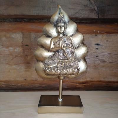 Bouddha prieur sur feuille or