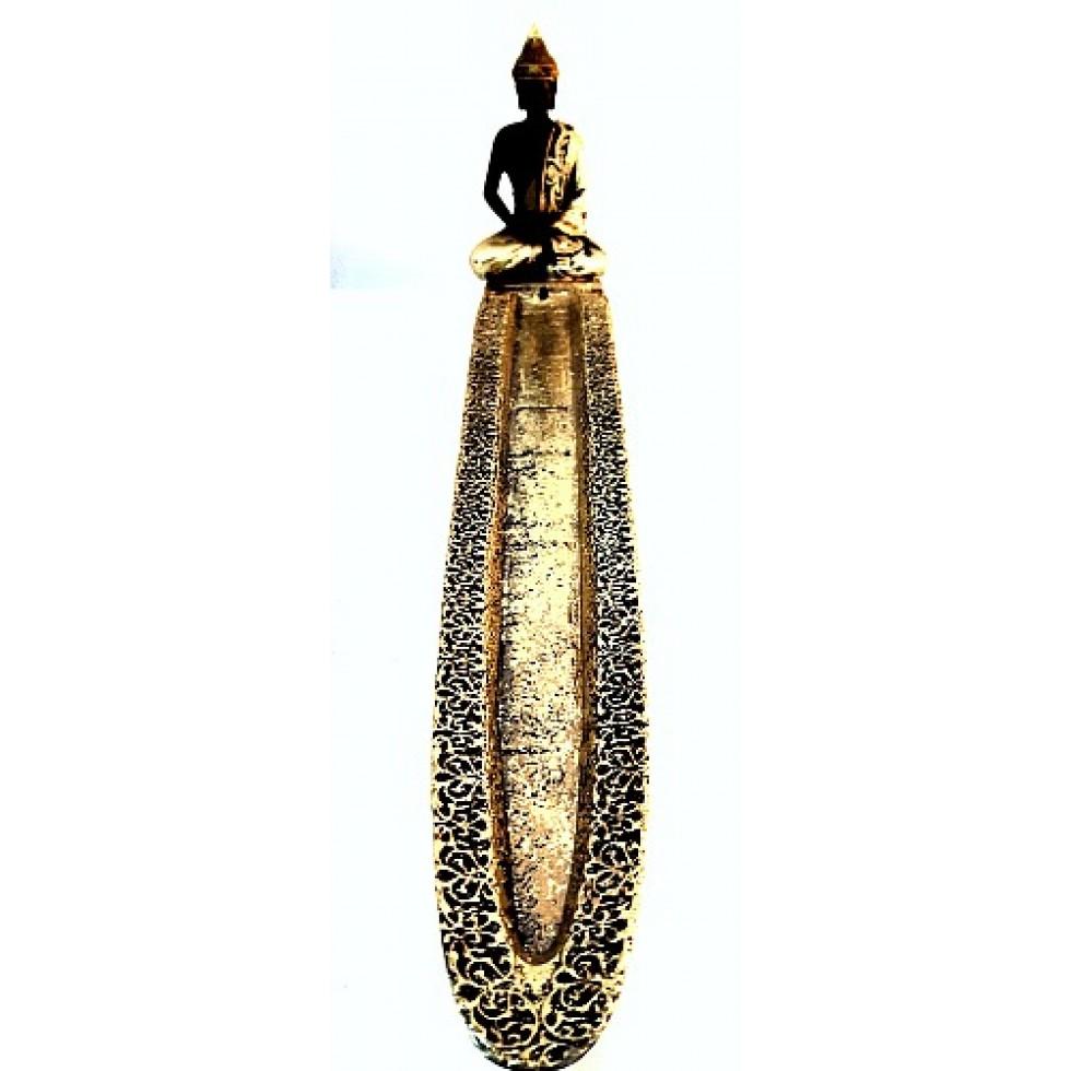 Bruleur encens Bouddha thaï méditation or et noir