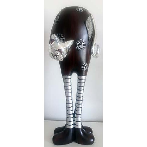 Chat design stainless gris et brun