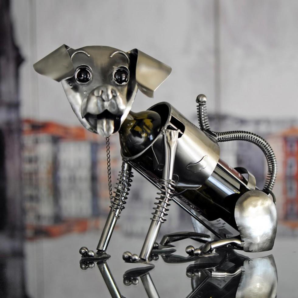 Porte-bouteille de vin chien en métal