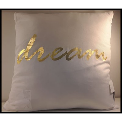 Coussin carré blanc et or dream