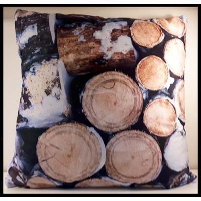 Coussin carré bûche de bois