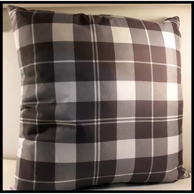Coussin carré gris, charcoal et blanc à carreaux