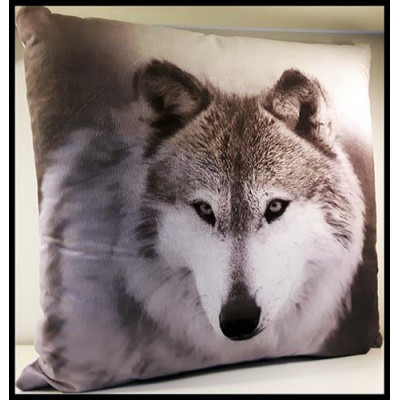 Coussin carré loup