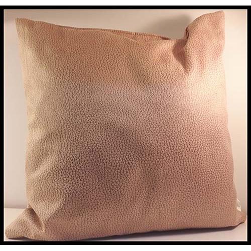 Coussin carré apparence cuir texturé beige