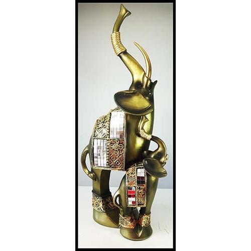 Éléphants debout mère et petit  couleur cuivre