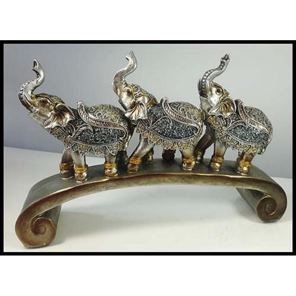 École d'éléphants silver sur pont