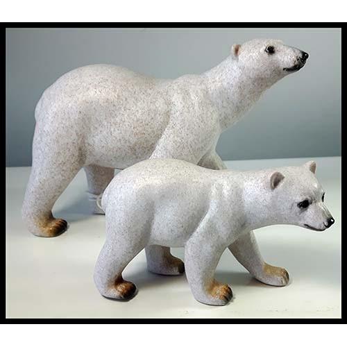Ensemble de 2 ours polaires en résine