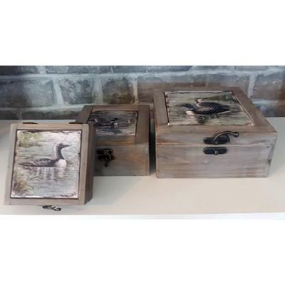 Ensemble de 3 boites de rangement divers canards