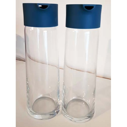 Ensemble huile et vinaigre en verre bleu