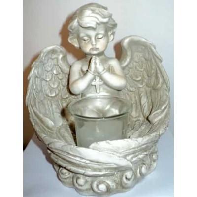 Figurine ange prieur en résine avec bougie