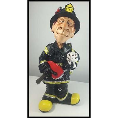 Figurine pompier avec chien et hache fire department