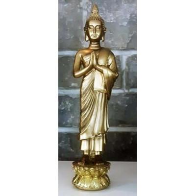 Grand bouddha debout prieur or