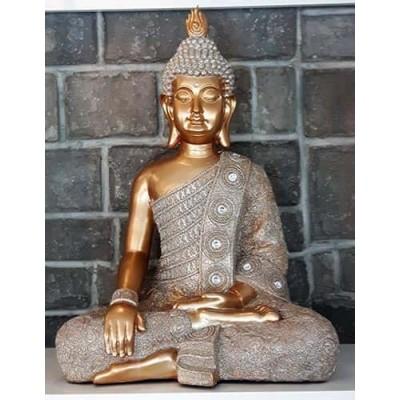 Grand Bouddha Thaïlandais or, gris et diamants