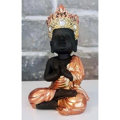 Moine tibetain enfant prieur noir or