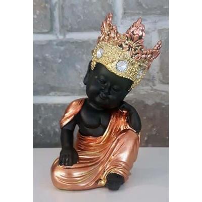 Moine tibetain enfant repos noir or