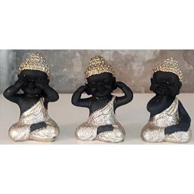 Bouddha bébés or et noir ensemble de 3
