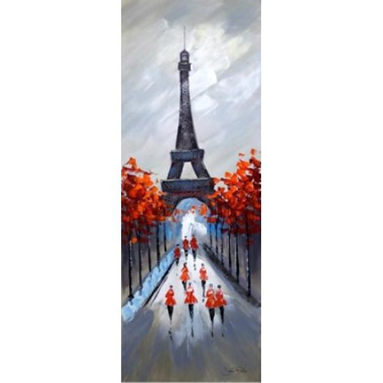Toile tour Eiffel et arbres peinture à l'huile