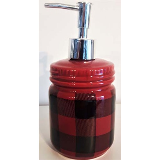Pompe savon carreaux rouge noir