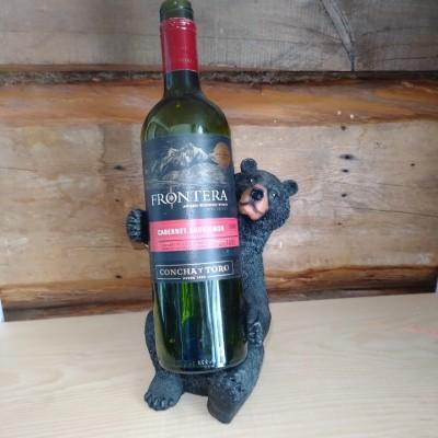 Porte-bouteille de vin décoratif ours noir