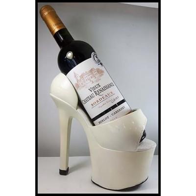 Porte-bouteille de vin soulier talon haut blanc