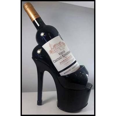Porte-bouteille de vin soulier talon haut noir
