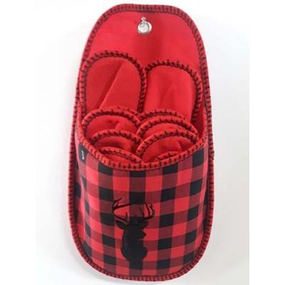 Porte-pantoufles carreaux noirs rouges chevreuil