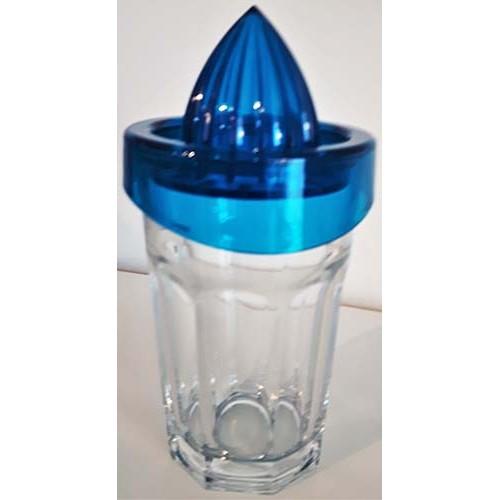 Presse-agrumes en verre bleu