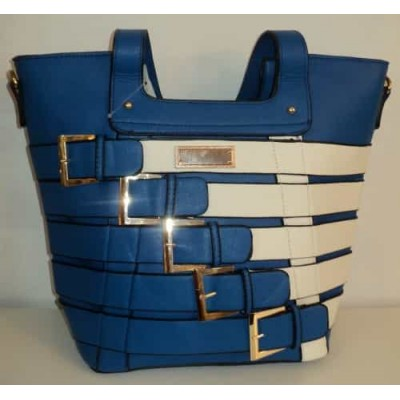 Sac à main bleu et blanc design ceintures