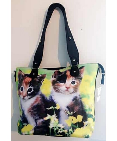 Sac à main chats fleurs