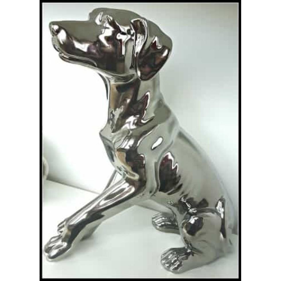 Statue de chien en céramique fini faux-stainless...