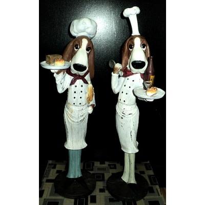 Ensemble de 2 sculptures chiens chefs cuisiniers